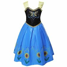 Kids Girls Shining Sunflower Princess Frozen Dress Anna Halloween Fancy Costume