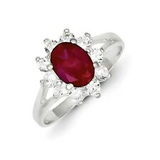 Sterling Silver Red Oval CZ Cluster Ring 3.24 gr Size 6 to 8