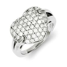 Sterling Silver Heart Ring With Clear CZ Clusters 4.55 gr Size 6 to 8