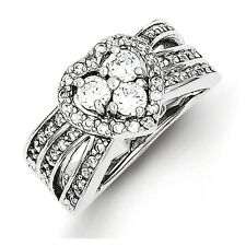 Sterling Silver CZ Heart Shaped Clear CZ Ring Size 6 to 8