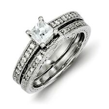 Sterling Silver 2 Ring Princess Cut Clear CZ Wedding Set 4.95 gr Size 6 to 8