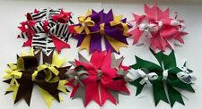 "New Handmade Grosgrain Ribbon 4.5"" School/Spring/Party Stacked Bow Hair Clip"