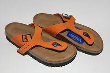 Birkenstock Suede Leather GIZEH $199rrp Orange 38 Narrow SOFT FOOTBED BNIB