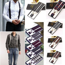 GENTS 35Mm WIDE ADJUSTABLE SUSPENDERS ELASTIC PLAIN COLOURS Elastic Strap Clip