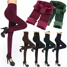 Womens Thermal Thick Warm Fleece lined Fur Winter Tight Pencil Leggings Pants