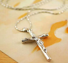 1 Pc Pendant Silver Cross HOT Jewelry Chain Crucifix Jesus Christ Necklace 2016