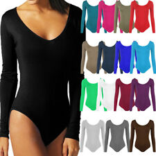 Ladies Womens Scoop Neck Bodysuit Long Sleeve Leotard Plain Stretch Basic Top