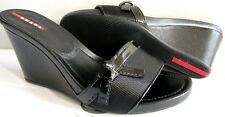 PRADA Sport Black Crinkled Patent Sexy Bow Canvas Wedges Slides Shoes EU 40.5