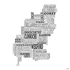 Typographical Map of County Wexford, Ireland