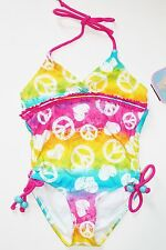 NWT Girls 5 6 White Pink Aqua Multi Tie Dye Peace Signs Swimsuit Swimming Suit