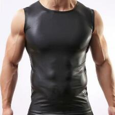 Sexy Round Neck Sleeveless Muscle Black PU Leather T-Shirt Tee Tank Top for Men