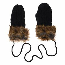 5X( Ladies Wool Winter Snow Mittens Knitted Fleece Lined Fur Gloves-Black) SP