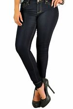 Poetic Justice Curvy Womens Cece Black Basic Cropped Skinny Ankle Jeans Low rise