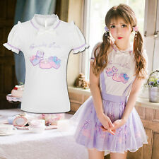 Japanese Kawaii Sweet Lolita Preppy Style Cotton Princess Embroider T-Shirt Tops