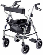 2 in 1 Wheeled Walker Rollator & Transit Chair Combination Mobility Aid