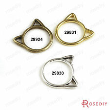 50PCS 19.5*17MM Zinc Alloy Cat Rings Charms Jewelry Findings Accessories 29830