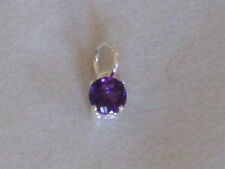 New 925 Sterling Silver Pendant Genuine African Amethyst Gemstone Charm 6 mm