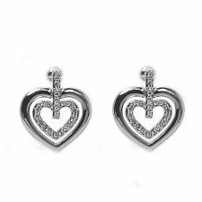 Rhodium Plated  Double Heart  Stud  Earrings  made with SWAROVSKI® Crystals