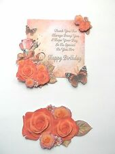 3D~ U Pick -  Birthday Roses Flowers Sentiment Scrapbook Card Embellishment 1327