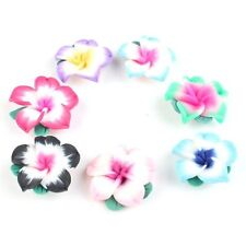 Wholesale Colorful Carnation Flowers Flatback Polymer Clay Pendants Beads 25mm