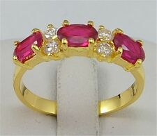 18 k yellow gold filled  ruby & white zircon  Wedding Jewelry rings size 6-10