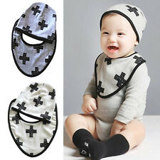 Cotton Saliva Towel waterproof Infant Bibs Kids Girl Boy Baby Lunch Bibs+Hats