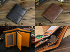 Mens Leather Bifold ID Card Holder Wallet Billfold Handbag Slim Clutch