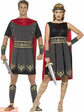 Adults Roman Warrior Costume Mens Ladies Gladiator Fancy Dress Womens Outfit
