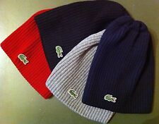LACOSTE MEN`S GREEN CROC RIBBED 100% WOOL KNIT BEANIE HAT CAP