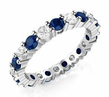 925 Sterling Silver Princess Cut Blue & White Cubic Zirconia CZ Eternity Ring