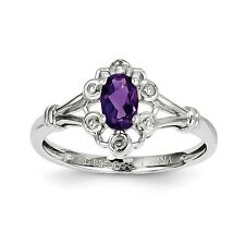 Amethyst Sterling Silver & .02 CT Diamond February Birthstone Ring Size 5 to 10