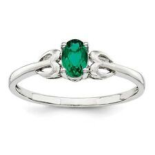 Sterling Silver Oval Created Emerald May Birthstone Ring 1.33 gr Size 5 to 10