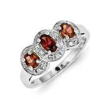 Sterling Silver 3 Stone Oval Garnet & 0.080 CT Diamond Ring 2.25 gr Size 6 to 8