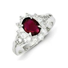 Sterling Silver Oval Cut Garnet & Clear CZ Ring 3.60 gr Size 6 to 8