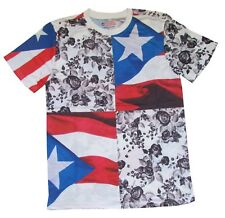 PUERTO RICO SHORT SLEEVE T-SHIRTS WITH BLACK ROSES PUERTO RICAN FLAG