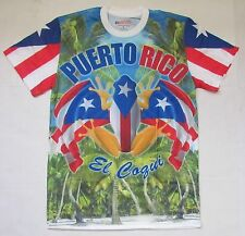 SUBLIMATED PUERTO RICO SHORT SLEEVE T-SHIRTS WHITH PUERTO RICAN FLAG  EL COQUI