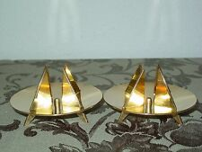 Pierre Forsell Skultuna Mid Century Modern Pair Brass Candle Holders Signed