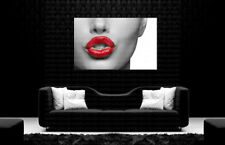 Red Lips Modern Face Canvas Art Poster Print Home Wall Decor