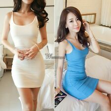 Women Long Tank Top Camisole Vest Strapless Sleeveless Slim Fit Mini Dress WT88