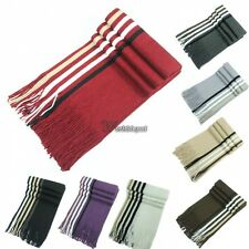 New Men Knit Scarf Stole Shawl Wrap Striped Fringed Long Soft Warm Winter WT88