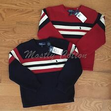 NWT boys 5 Polo Ralph Lauren cotton crewneck pullover sweater red white blue