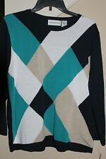 Alfred Dunner Multicolor 3/4 Sleeve Argyle Sweater L, XL
