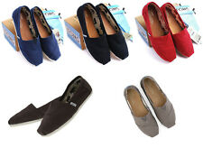 [TOMS] Womens Classic Slip On 2 Colors Canvas Flats, Ladies Pumps -Red, Chocolet