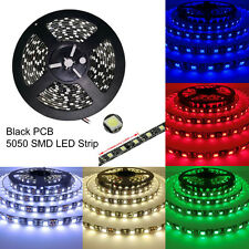 Black PCB 16.4ft 5M 5050 SMD 300 Waterproof LED Flexible Strip Lights Lamp 12V
