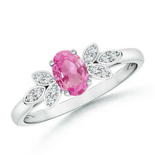 Natural Diamond Oval Pink Sapphire Cocktail Engagement Ring 14k White Gold SZ 6