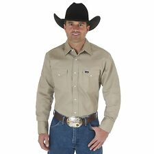 Wrangler Mens Cowboy Cut Long Sleeve Work Shirt Khaki