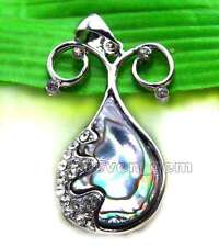 SALE Big 30*35mm Drop Natural Blue Multicolor Abalone shell pendant -pen88