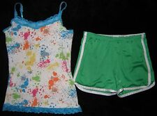 Justice Girls Shirt Tank Top Cami size 14 Athletic Shorts size 12 Sparkle Outfit
