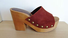 GREAT NEW ZARA REDDISH BROWN 100% SUEDE LEATHER STUDDED CLOGS SHOES SIZE 5 EU 38