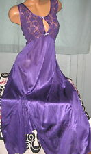 Plum Purple Stretch Lace Long Nightgown S M L Sexy Slit Keyhole Nylon Gowns